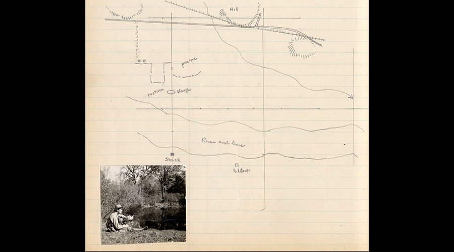 Hand-drawn map with photograph inset.