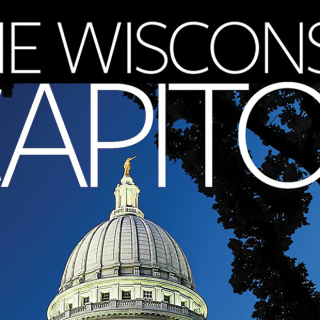 Book cover with photo of Wisconsin capitol building and text,