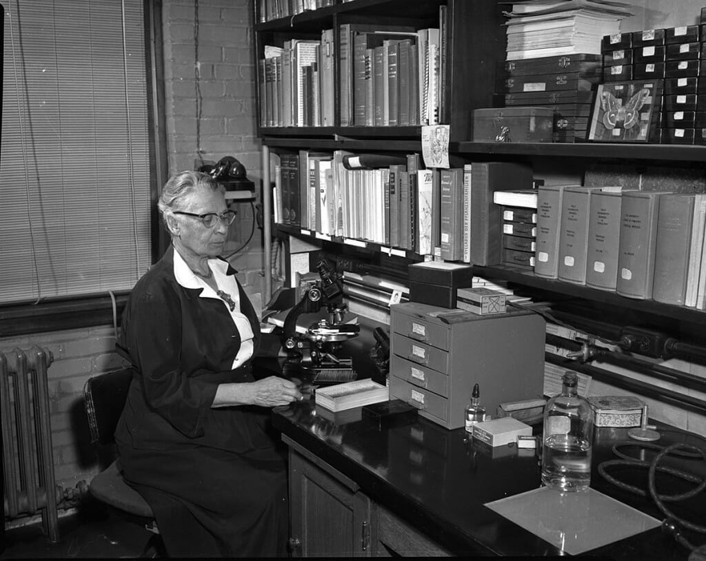 Black and white photo of Eloise Gerry sitting at desk in front of microscope.