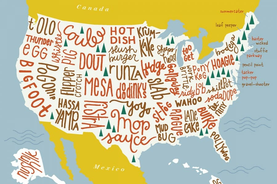 Illustration of map of the United States filled with words placed in the region where that word is most common