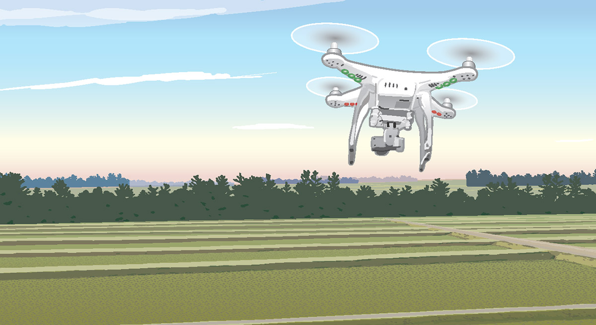 Illustration of drone flying over farmland
