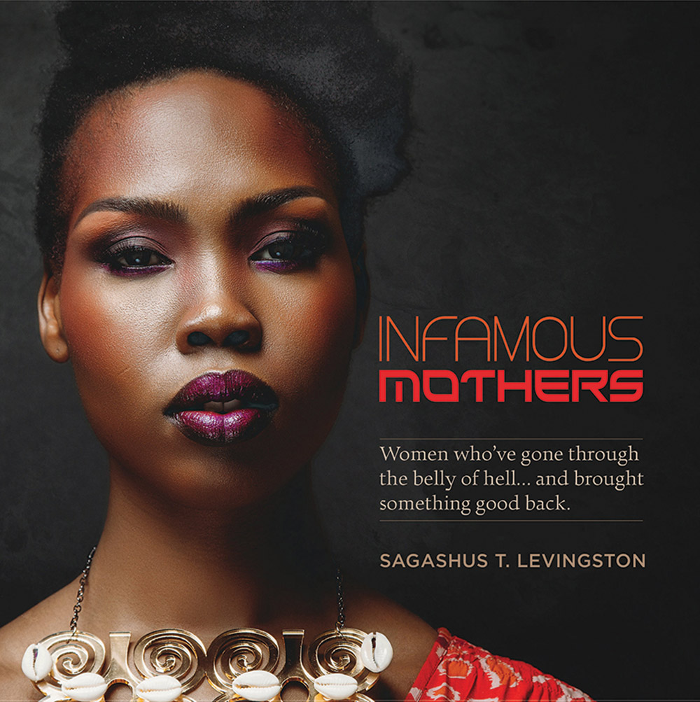 "Book cover showing closeup of woman's face, title that reads ""Infamous Mothers"""