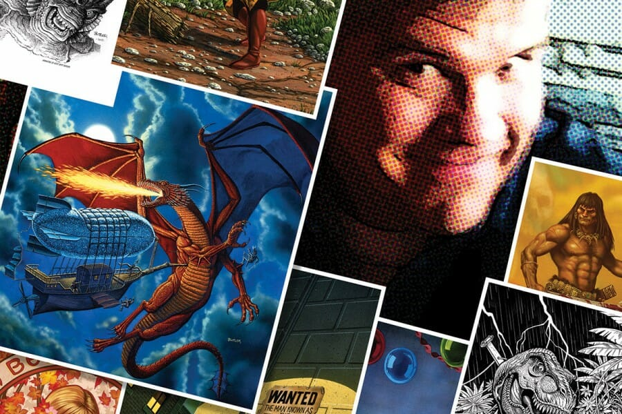 Colorful photo illustration combining photo of Jeff Butler with comic book illustrations