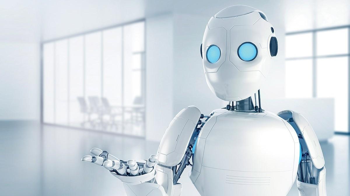 Artistic rendering of sleek, white plastic-covered robot
