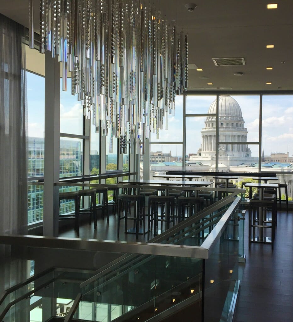 Interior of Eno Vino Wine Bar and Bistro shows view of capitol building