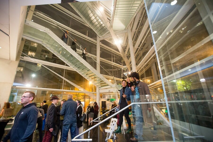 People congregate in interior of Madison Museum of Contemporary Art