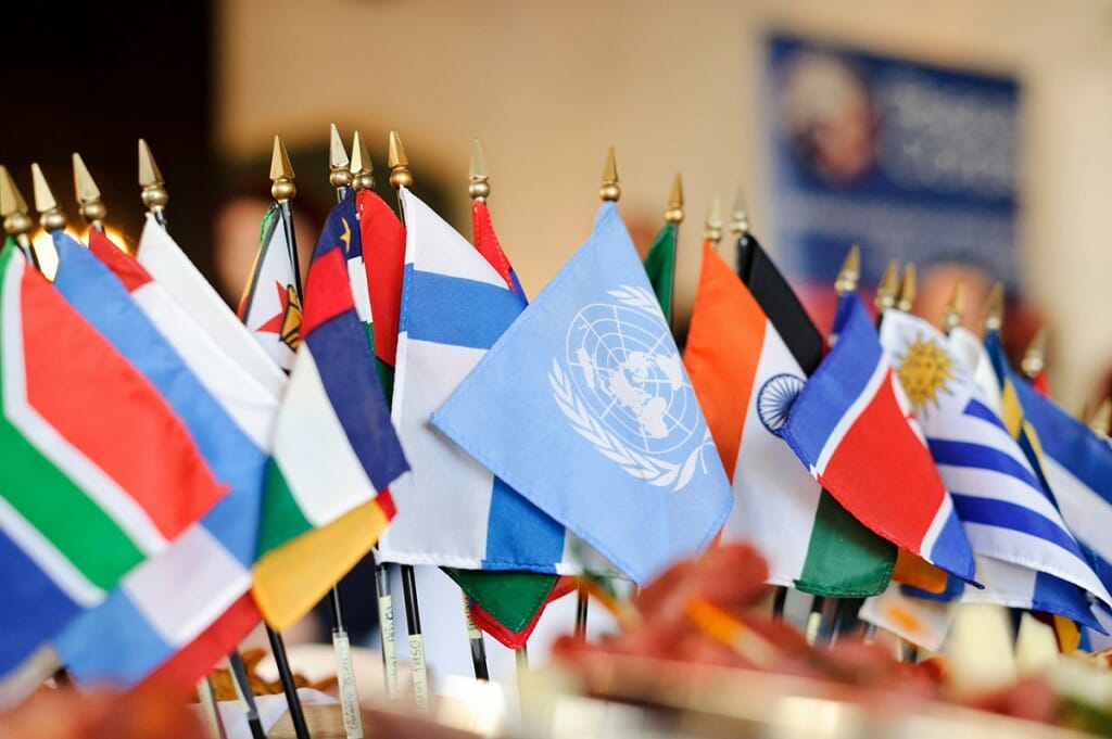 A collection of international flags serves as a buffet table centerpiece