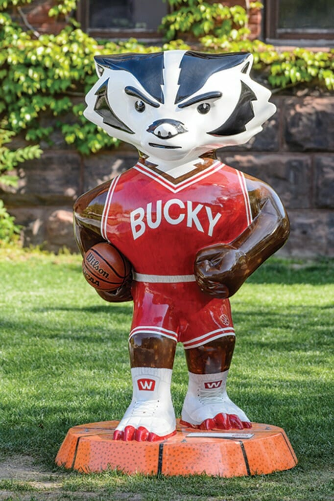 Bucky statue wearing basketball uniform