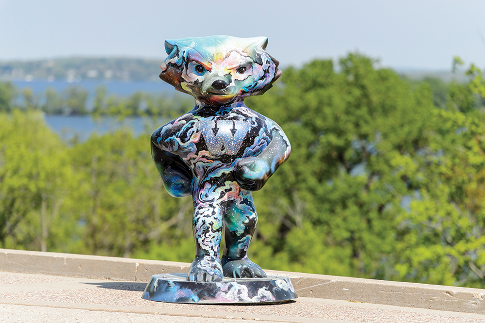 Bucky statue painted with celestial design