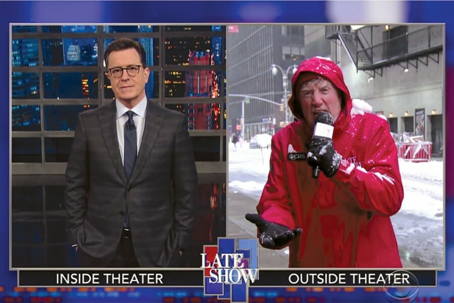 Brian Stack is depicted as a news correspondent on one side of a split screen with Late Show host, Stephen Colbert as the two do a comedy bit