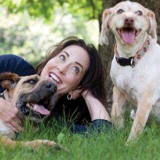 Marie Moody with her two dogs, Stella and Chewy