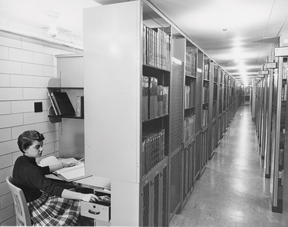 1960s image showing locked carrels in Memorial Library