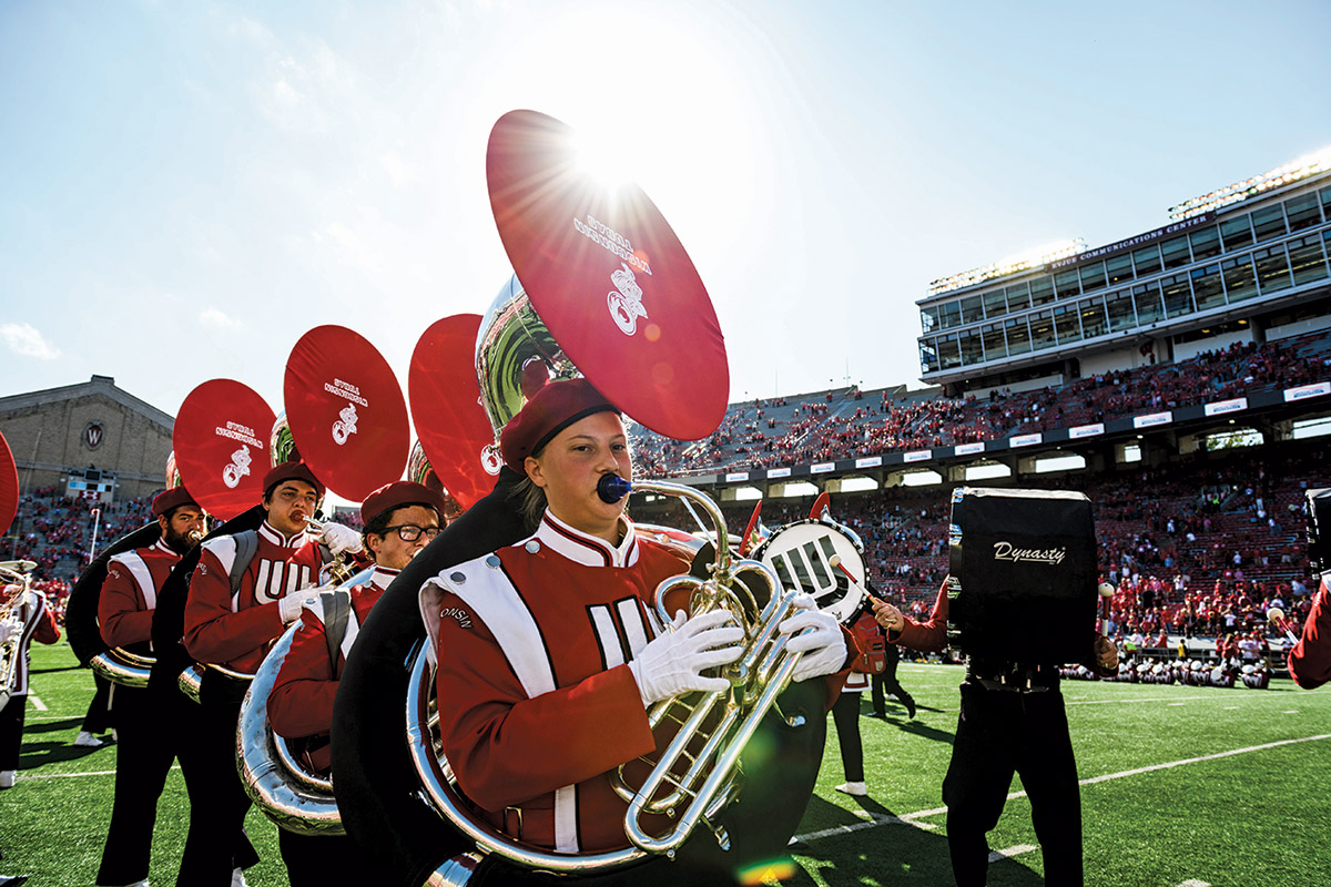 UW–Madison marching band tuba players perform during Fifth Quarter