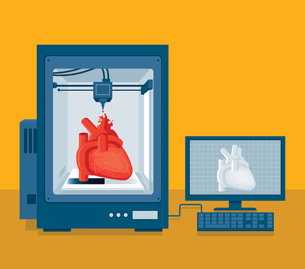 Graphic illustration of human heart being created using a 3D printer