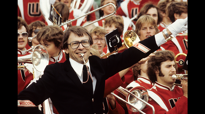 Mike Leckrone directs the UW Marching Band at Camp Randall Stadium on October 7, 1978