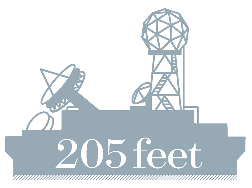 "Graphic of meteorological equipment with text ""205 feet"""