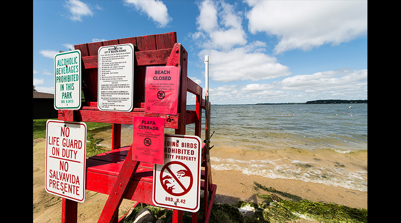 High water levels closed area beaches, including this one at Tenney Park on Lake Mendota photographed on August 29.