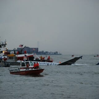 Rescue boats surround US Airways Flight 1549 on the Hudson River