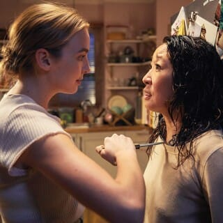 Actors, Jodie Comer and Sandra Oh, during a scene from show,