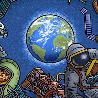 Illustration of astronaut in space suit floating amid other objects with planet Earth in the background