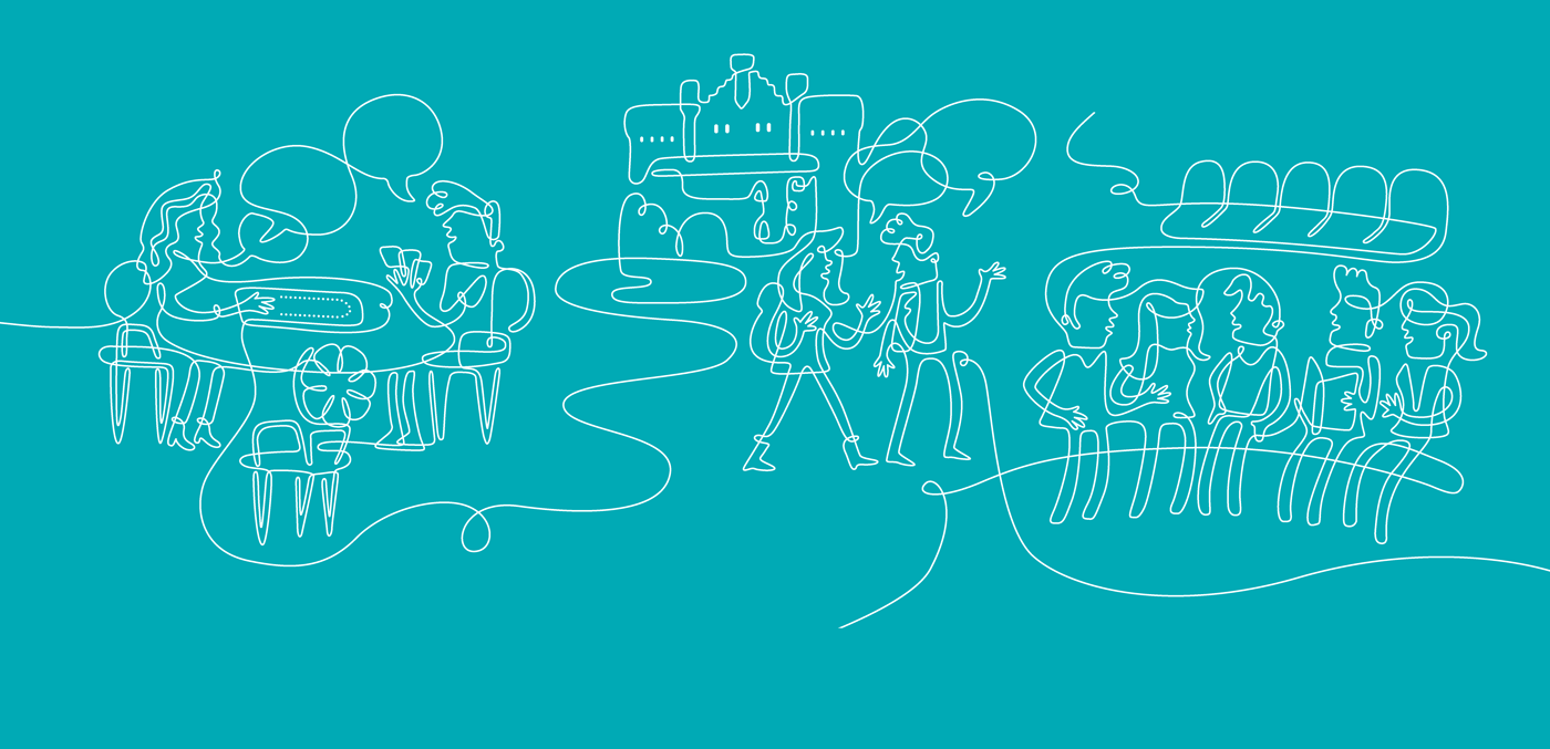 Turquoise and white line drawing of groups of people conversing on campus
