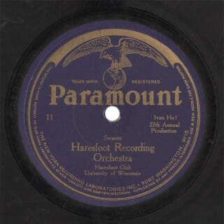 Photograph of an original Paramount record label