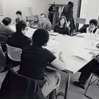 A women-led UW faculty group meets in 1975