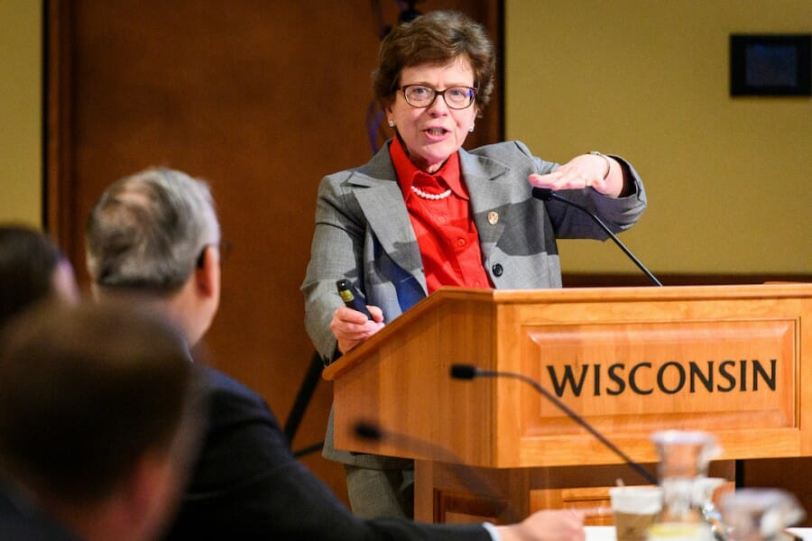 UW-Madison Chancellor Rebecca Blanks speaks during her presentation at the UW System Board of Regents meeting