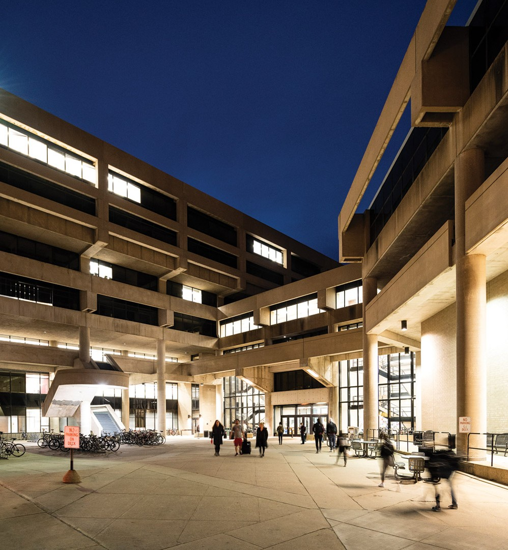 Exterior view of Helen C. White hall at night
