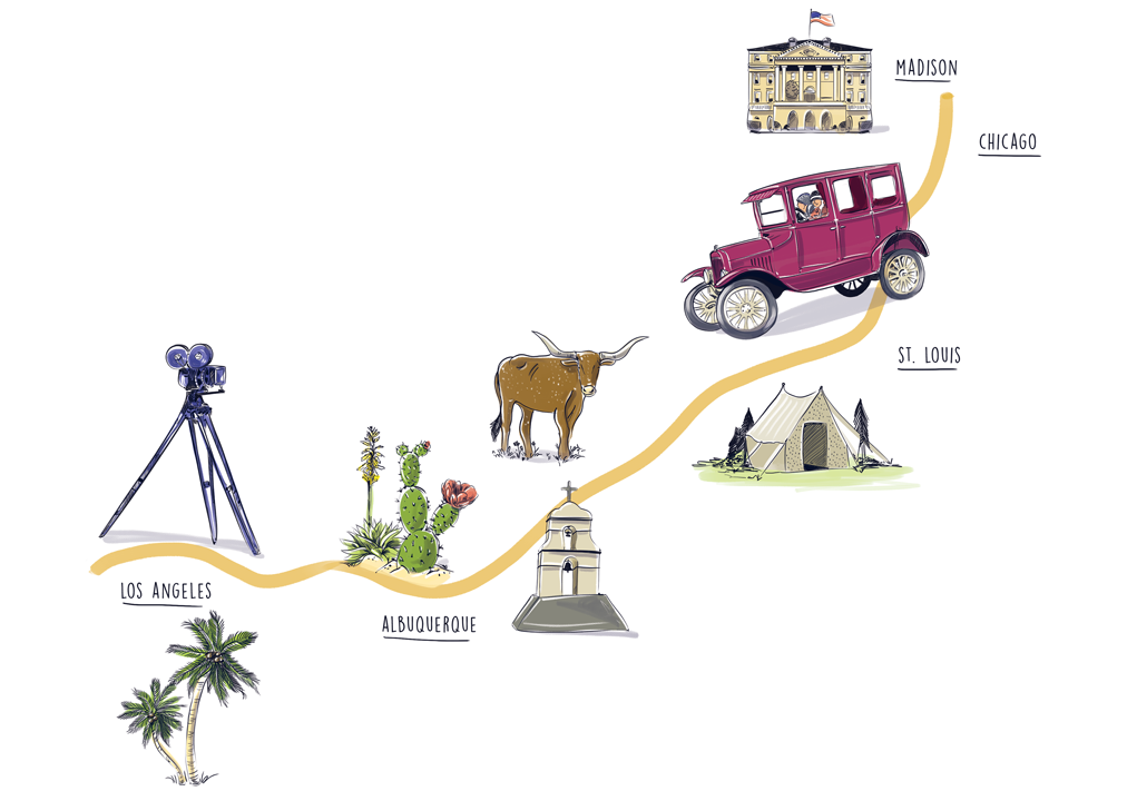 Illustration showing Emily Hahn's journey from Madison to Los Angeles with labels for each city she passed through