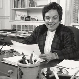 Donna Shalala at her desk