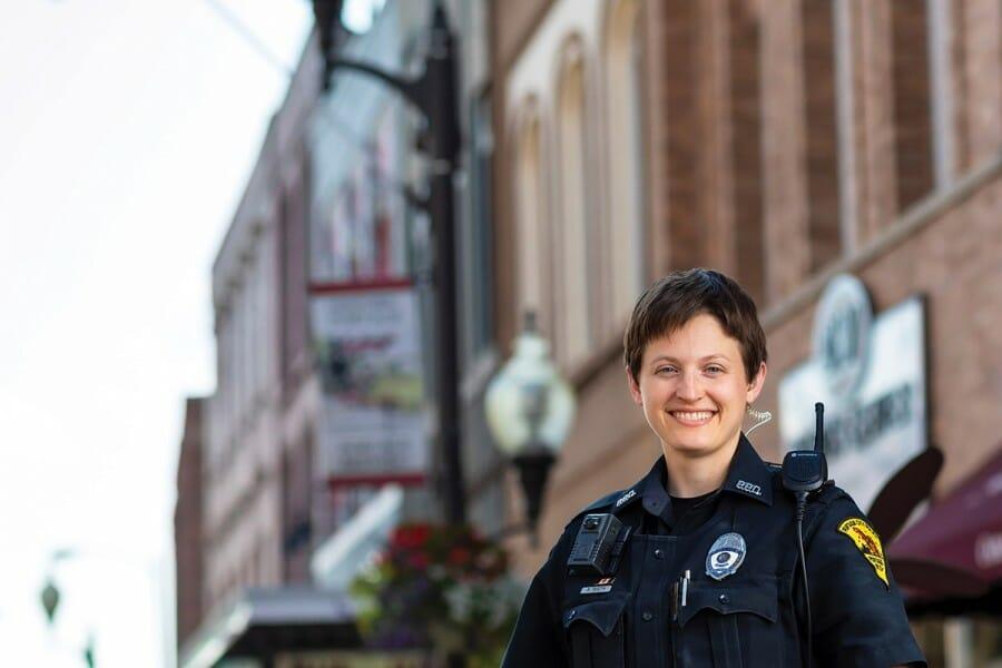 Sarah Rueth in police uniform