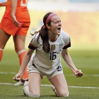 Rose Lavelle celebrates after scoring during the 2019 Women's World Cup soccer game
