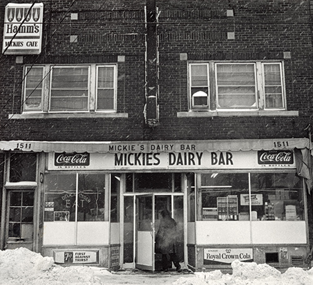 Historical black and white photo of Mickie's Dairy Bar