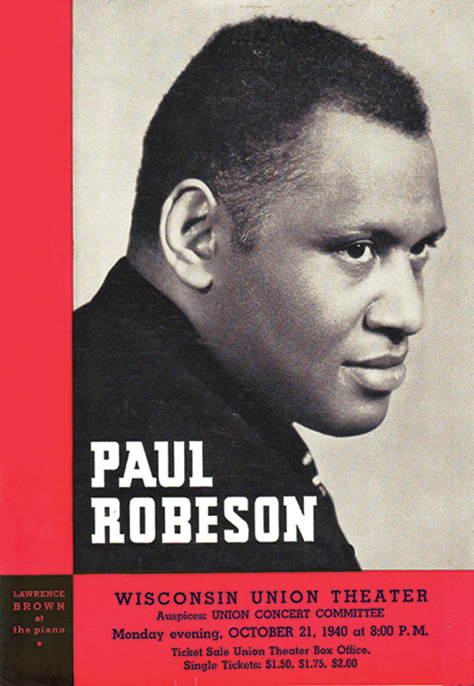 Wisconsin Union Theater program cover: Paul Robeson, October 21, 1940.