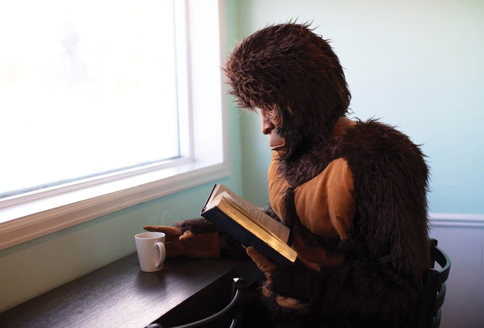 Scott Carney dressed as Bigfoot