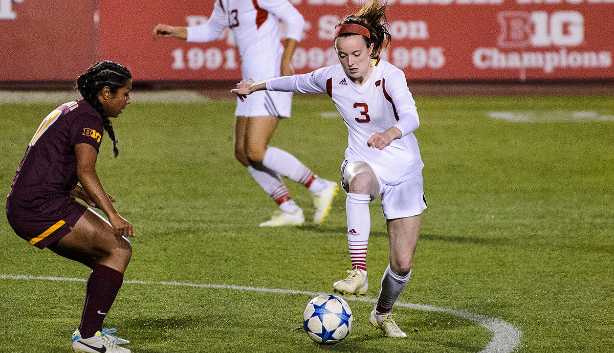 Rose Lavelle on the field during a UW Badger soccer game