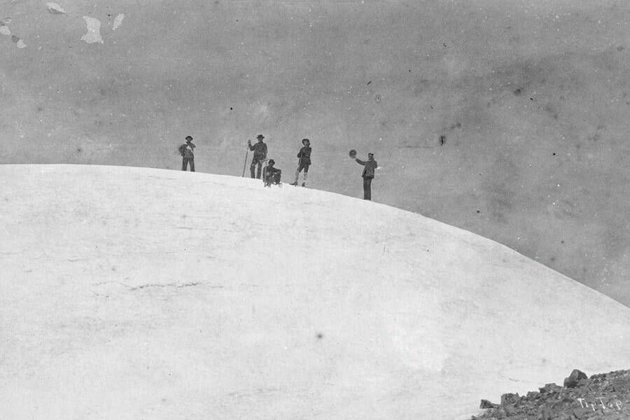 John Muir and his climbing party at the summit of Mount Rainier, 1888.