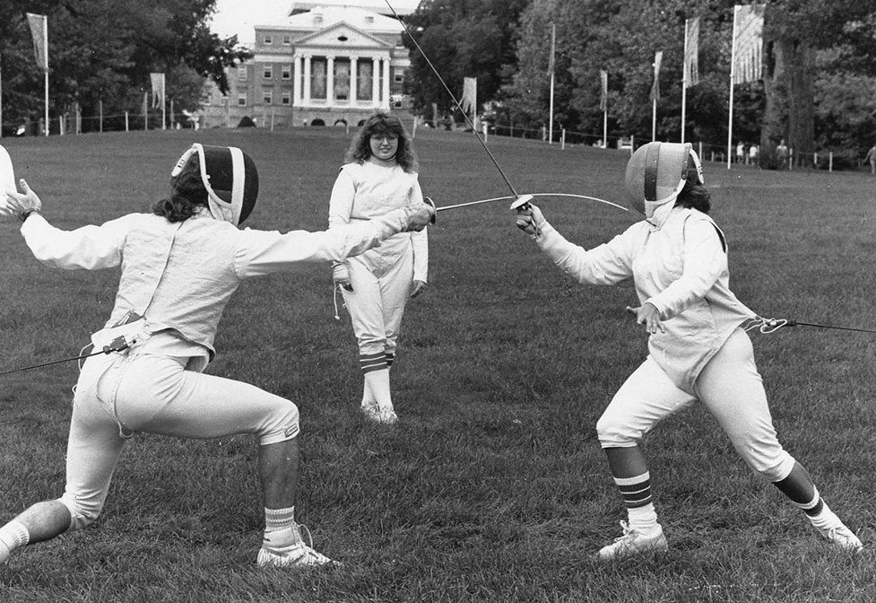 Fencers demonstrate their craft on Bascom Hill in this photo from 1989