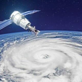 Rendering of satellite over storm system
