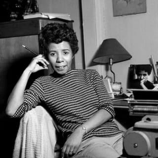 Lorraine Hansberry at desk
