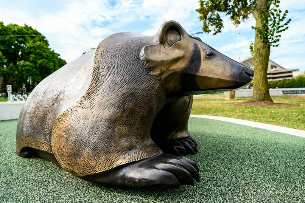 Large statue of a badger