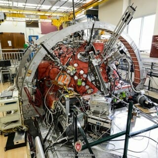 """A three-meter-wide hollow sphere that houses a powerful magnet and a series of probes, known as """"The Big Red Ball"""""""