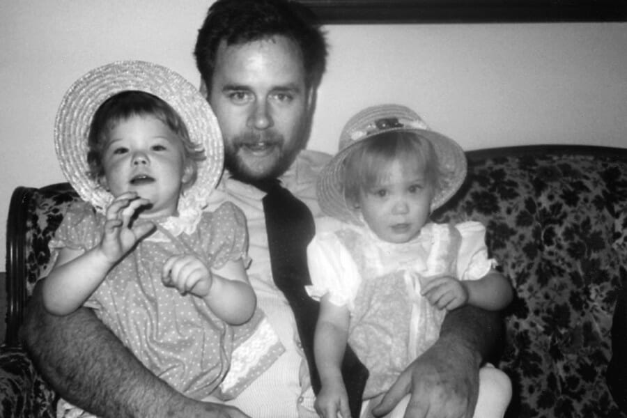 David Carr with young twin daughters