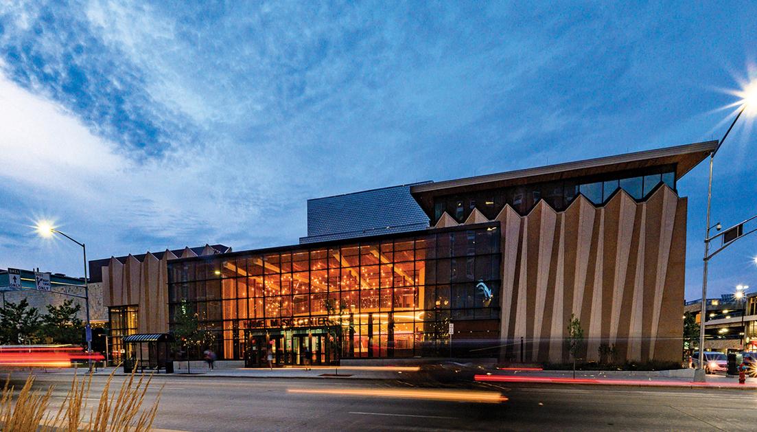 Exterior of Hamel Music Center at dusk