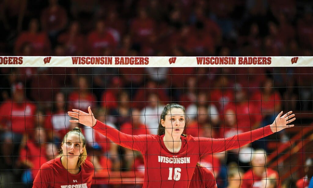 Dana Rettke on the court during a UW–Madison women's volleyball game