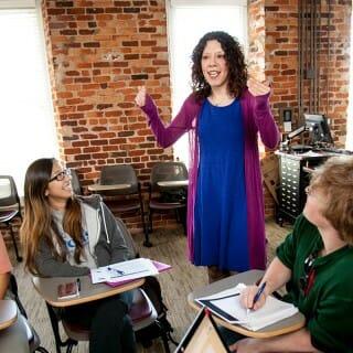 Jennifer Elkins with students