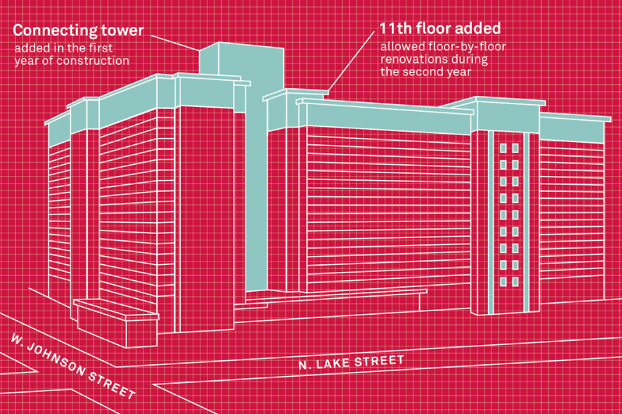 Illustration of Witte Hall showing new 11th floor and connecting tower