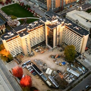 Aerial view of Witte residence hall