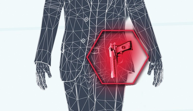 Illustration of x-ray view of handgun in a persons pocket